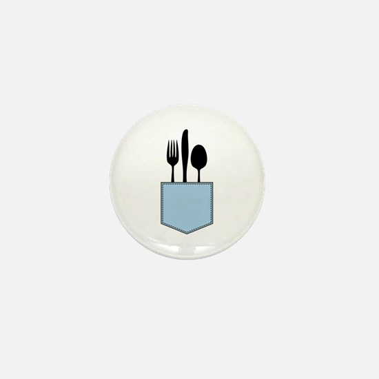Silverware Shirt Pocket Mini Button