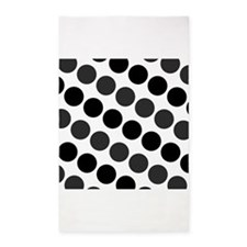 Large Black Dark Gray and White Polka Dots 3'x5' A
