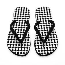 Vintage Black and White Checkered Flip Flops