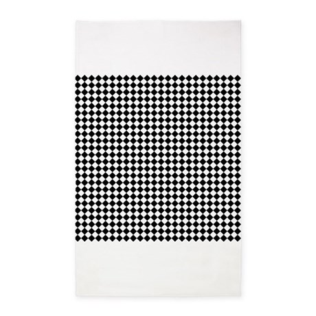 Vintage black and white checkered 3 39 x5 39 area rug by for Checkered carpet black and white
