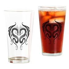 Dark Twin Tribal Dragons Drinking Glass