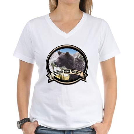 Can you skin Griz bear hunter Women's V-Neck T-Shi