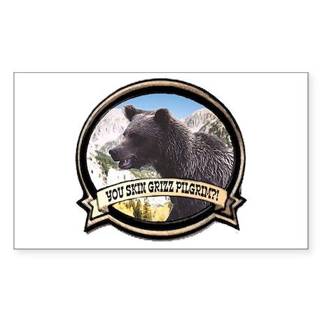 Can you skin Griz bear hunter Sticker (Rectangular