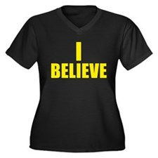 I Believe Playoffs Women's Plus Size V-Neck Dark T