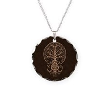 Brown Guitar Tree of Life Necklace Circle Charm