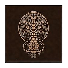 Brown Guitar Tree of Life Tile Coaster
