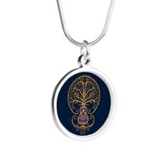 Blue and Yellow Guitar Tree of Life Necklaces
