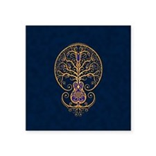 Blue and Yellow Guitar Tree of Life Sticker