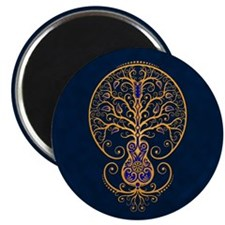 Blue and Yellow Guitar Tree of Life Magnets