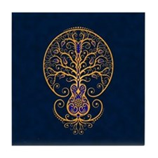 Blue and Yellow Guitar Tree of Life Tile Coaster