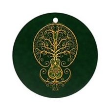 Green and Yellow Guitar Tree of Life Ornament (Rou