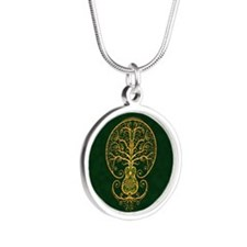 Green and Yellow Guitar Tree of Life Necklaces