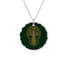 Green and Yellow Guitar Tree of Life Necklace
