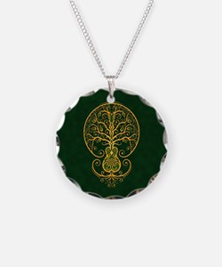 Green and Yellow Guitar Tree of Life Necklace Circ