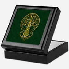Green and Yellow Guitar Tree of Life Keepsake Box