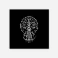 Gray Guitar Tree of Life on Black Sticker