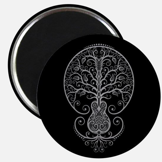 Gray Guitar Tree of Life on Black Magnets