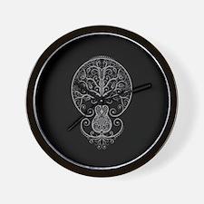 Gray Guitar Tree of Life on Black Wall Clock