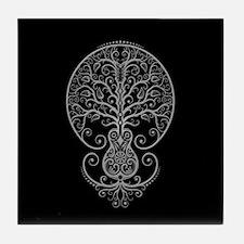 Gray Guitar Tree of Life on Black Tile Coaster