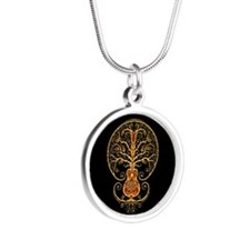 Red and Yellow Guitar Tree of Life on Black Neckla