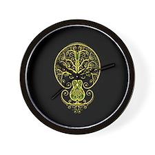 Green Guitar Tree of Life on Black Wall Clock