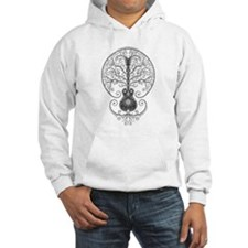 Gray Guitar Tree of Life Hoodie Sweatshirt