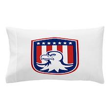 American Bald Eagle Head Flag Shield Retro Pillow