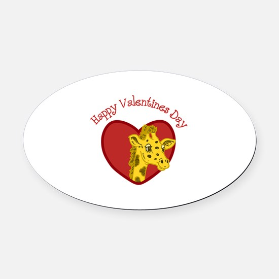 Happy Valentines Day Oval Car Magnet