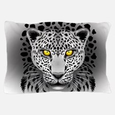 White Leopard with Yellow Eyes Pillow Case