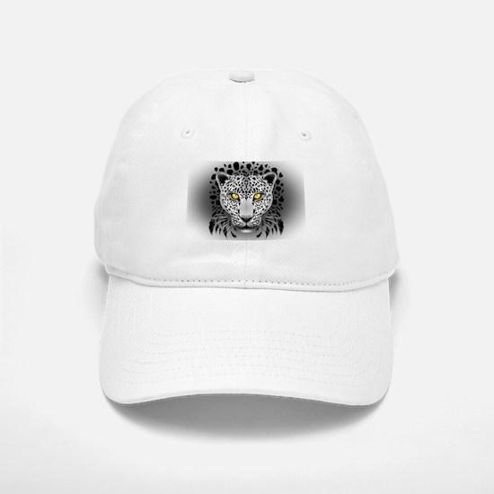 White Leopard with Yellow Eyes Baseball Baseball Baseball Cap