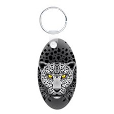 White Leopard with Yellow Eyes Keychains