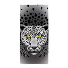 White Leopard with Yellow Eyes Beach Towel