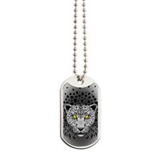 White Leopard with Yellow Eyes Dog Tags