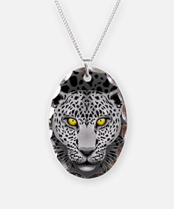 White Leopard with Yellow Eyes Necklace