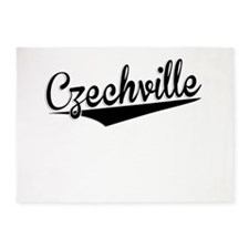 Czechville, Retro, 5'x7'Area Rug