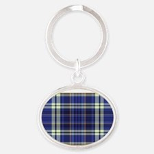 Blueberry Muffin Plaid Oval Keychain