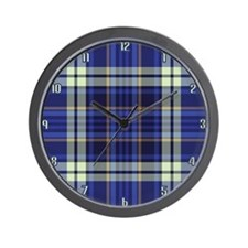 Blueberry Muffin Plaid Wall Clock