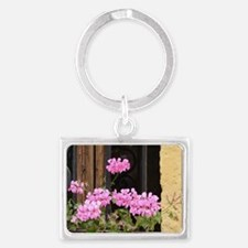 Geranium in the Window Landscape Keychain