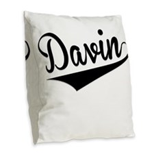 Davin, Retro, Burlap Throw Pillow