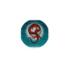 Fantasy Eastern Red Dragon Mini Button (10 pack)