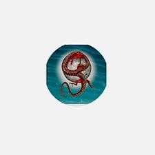 Fantasy Eastern Red Dragon Mini Button