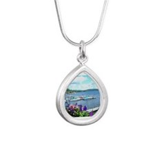 Lake George View Silver Teardrop Necklace