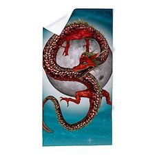Fantasy Eastern Red Dragon Beach Towel