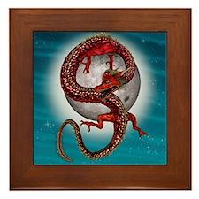 Fantasy Eastern Red Dragon Framed Tile