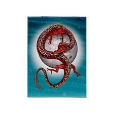 Fantasy Eastern Red Dragon 5'x7'Area Rug