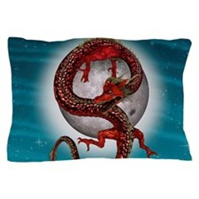 Fantasy Eastern Red Dragon Pillow Case