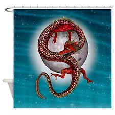 Fantasy Eastern Red Dragon Shower Curtain
