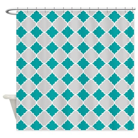 Aqua Grey Quatrefoil Pattern Shower Curtain By CurtainsForShowers