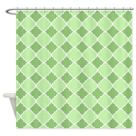Green And White Quatrefoil Design Shower Curtain By Curtainsforshowers