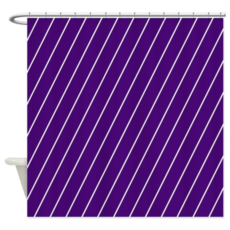 Purple And White Striped Shower Curtain By Patternedshop